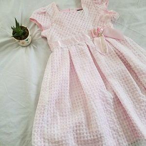 Pink checkered dress matching barrette